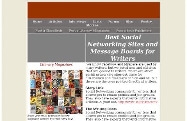 http://www.everywritersresource.com/socialnetworkingsitesforwriters.htm