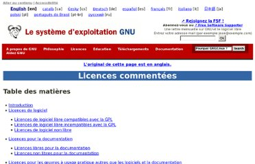 http://www.gnu.org/licenses/license-list.fr.html#SoftwareLicenses