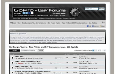 http://goprouser.freeforums.org/tips-tricks-and-diy-customizations-f5.html