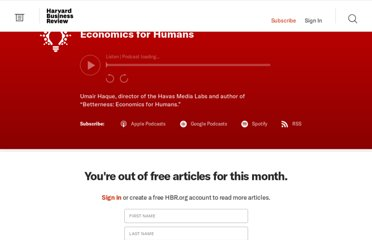 http://blogs.hbr.org/ideacast/2011/12/economics-for-humans.html