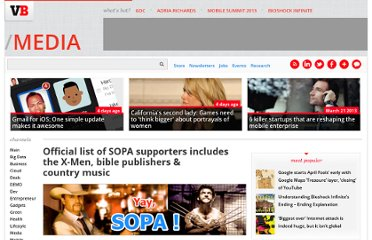 http://venturebeat.com/2011/12/22/list-of-sopa-supporters/