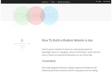 http://blog.tommilway.com/post/14322949339/how-to-build-a-modern-website-in-2011