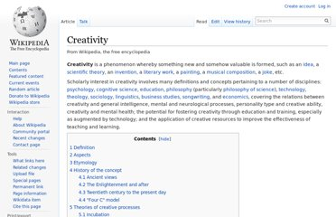http://en.wikipedia.org/wiki/Creativity