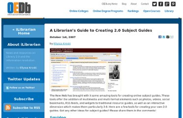 http://oedb.org/blogs/ilibrarian/2007/a-librarians-guide-to-creating-20-subject-guides/