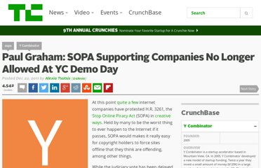 http://techcrunch.com/2011/12/22/paul-graham-sopa-supporting-companies-no-longer-allowed-at-yc-demo-day/