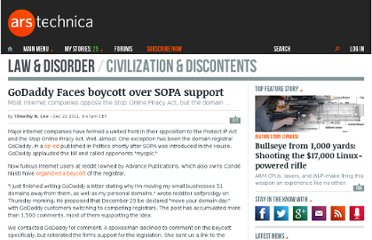 http://arstechnica.com/tech-policy/news/2011/12/godaddy-faces-december-29-boycott-over-sopa-support.ars