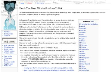 http://wikileaks.org/wiki/Draft:The_Most_Wanted_Leaks_of_2009