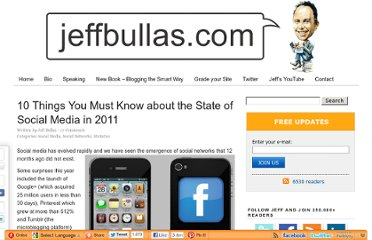 http://www.jeffbullas.com/2011/12/23/10-things-you-must-know-about-the-state-of-social-media-in-2011/