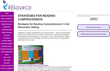 http://www.readingresource.net/strategiesforreadingcomprehension.html