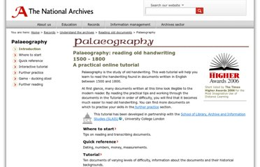 http://www.nationalarchives.gov.uk/palaeography/