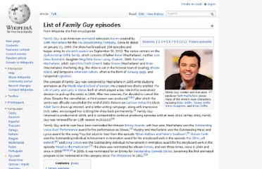 http://en.wikipedia.org/wiki/List_of_Family_Guy_episodes#Season_10:_2011.E2.80.9312