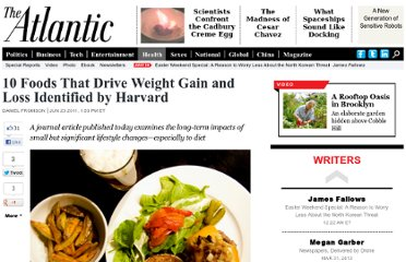 http://www.theatlantic.com/health/archive/2011/06/10-foods-that-drive-weight-gain-and-loss-identified-by-harvard/240933/