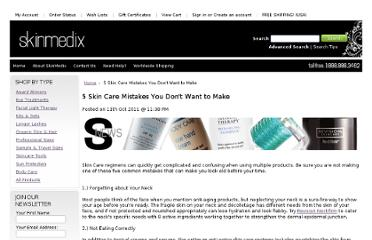 http://www.skinmedix.com/5-skin-care-mistakes-you-do-not-want-to-makeA/