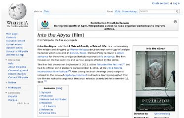 http://en.wikipedia.org/wiki/Into_the_Abyss_(film)