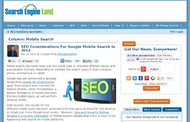 http://searchengineland.com/seo-considerations-for-google-mobile-search-in-2012-105469