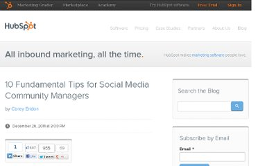 http://blog.hubspot.com/blog/tabid/6307/bid/29354/10-Fundamental-Tips-for-Social-Media-Community-Managers.aspx