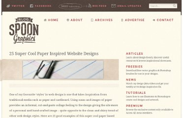 http://blog.spoongraphics.co.uk/articles/25-super-cool-paper-inspired-website-designs