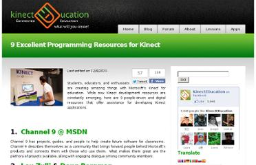 http://www.kinecteducation.com/blog/2011/11/13/9-excellent-programming-resources-for-kinect/