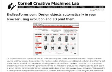 http://creativemachines.cornell.edu/EndlessForms.com