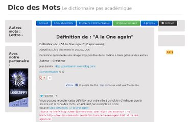http://dico-des-mots.com/definitions/a-la-one-again.html