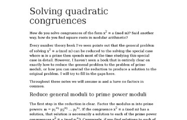http://www.johndcook.com/quadratic_congruences.html
