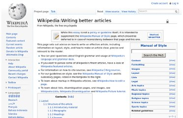 http://en.wikipedia.org/wiki/Wikipedia:Writing_better_articles