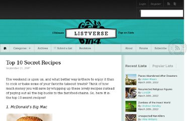 http://listverse.com/2007/09/21/top-10-secret-recipes/