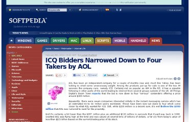 http://news.softpedia.com/news/ICQ-Bidders-Narrowed-Down-to-Four-Takers-by-AOL-134372.shtml
