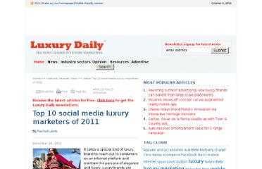 http://www.luxurydaily.com/top-10-social-media-luxury-marketers-of-2011/