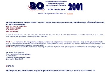 http://www.education.gouv.fr/bo/2001/hs3/arts.htm#page20