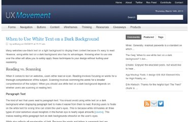 http://uxmovement.com/content/when-to-use-white-text-on-a-dark-background/