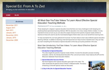 http://www.mastersinspecialeducation.org/40-must-see-youtube-videos-to-learn-about-effective-special-education-teaching-methods.html