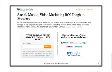 http://www.marketingprofs.com/charts/2010/3620/social-mobile-video-marketing-roi-tough-to-measure
