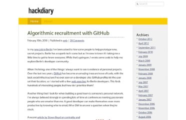 http://www.hackdiary.com/2010/02/10/algorithmic-recruitment-with-github/