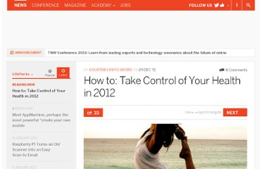 http://thenextweb.com/lifehacks/2011/12/29/how-to-take-control-of-your-health-in-2012/