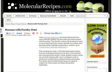 http://www.molecularrecipes.com/flavor-pairing/banana-parsley-dust/