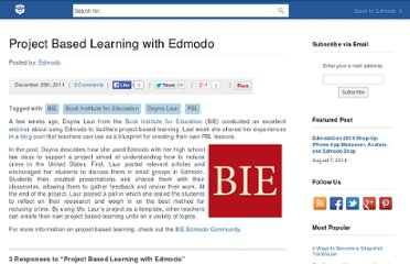 http://blog.edmodo.com/2011/12/29/project-based-learning-with-edmodo/