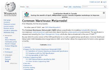 http://en.wikipedia.org/wiki/Common_Warehouse_Metamodel