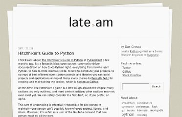 http://late.am/post/2011/12/29/hitchhikers-guide-to-python