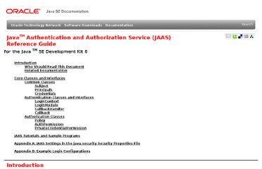 http://docs.oracle.com/javase/6/docs/technotes/guides/security/jaas/JAASRefGuide.html