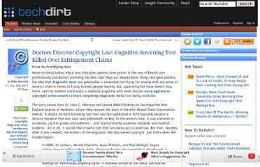 http://www.techdirt.com/articles/20111230/04095117235/doctors-discover-copyright-law-cognitive-screening-test-killed-over-infringement-claims.shtml