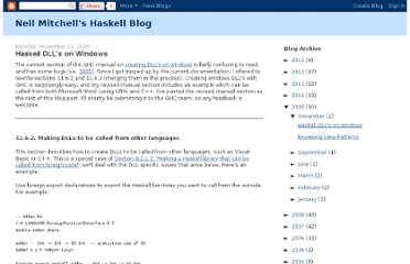 http://neilmitchell.blogspot.com/2009/11/haskell-dlls-on-windows.html