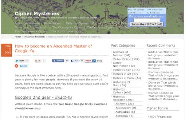 http://www.ciphermysteries.com/2009/05/07/how-to-become-an-ascended-master-of-google-fu