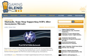 http://www.cinemablend.com/games/Nintendo-Sony-Stop-Supporting-SOPA-Anonymous-Threats-38195.html