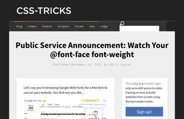 http://css-tricks.com/watch-your-font-weight/