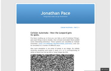 http://jonathanpace.wordpress.com/2008/10/31/cellular-automata-how-the-leopard-gets-its-spots/
