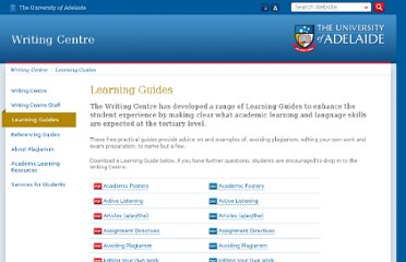 http://www.adelaide.edu.au/writingcentre/learning_guides/