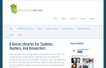 http://knowledgesalad.com/useful/8-online-libraries-for-students-teachers-and-researchers/
