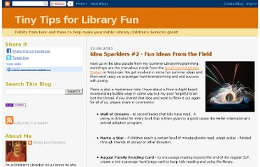 http://tinytipsforlibraryfun.blogspot.com/2011/12/idea-sparklers-2-fun-ideas-from-field.html