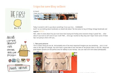 http://www.thefirstlime.com/2011/12/5-tips-for-new-etsy-sellers.html